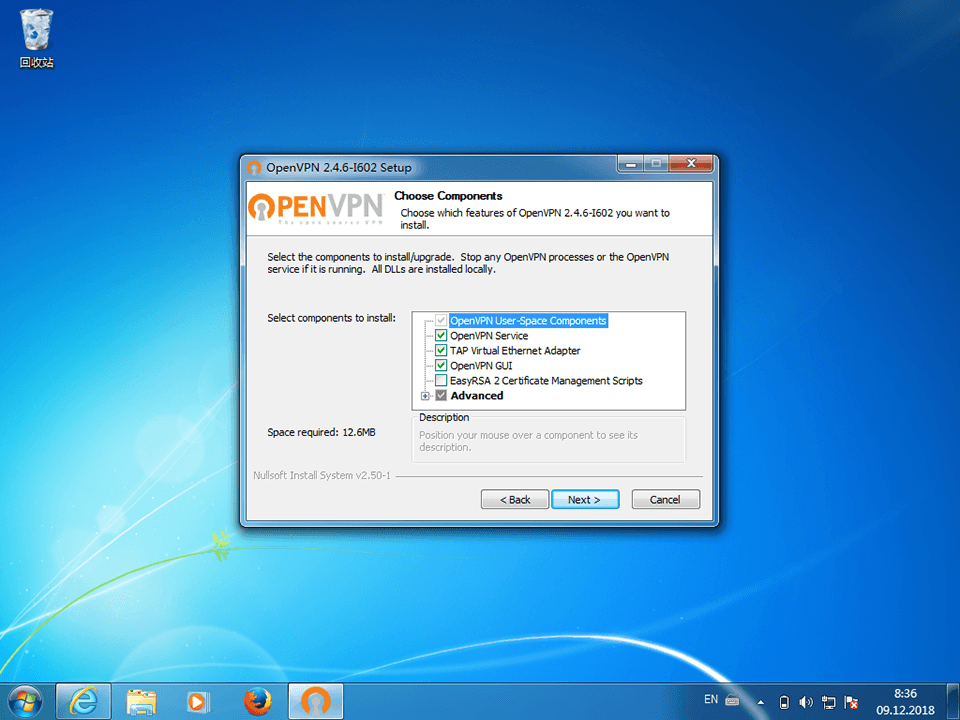 Setting up OpenVPN on Windows 7, step 5