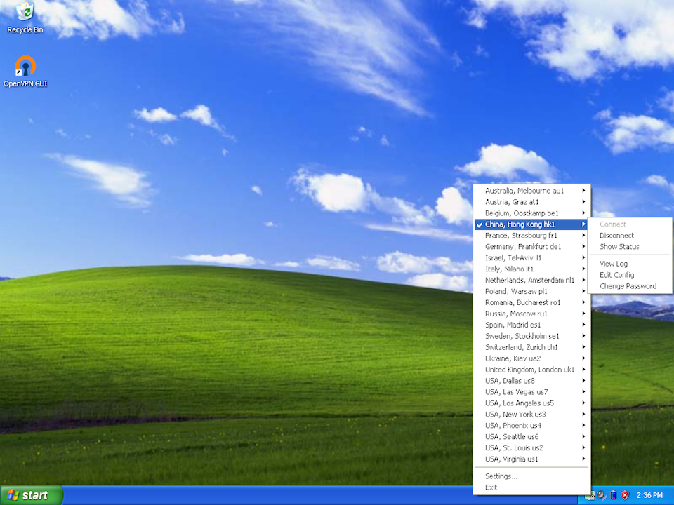 Setting up OpenVPN on Windows XP, step 12