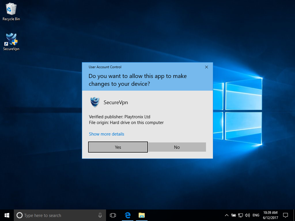Setting up SecureVPN app for Windows, step 4