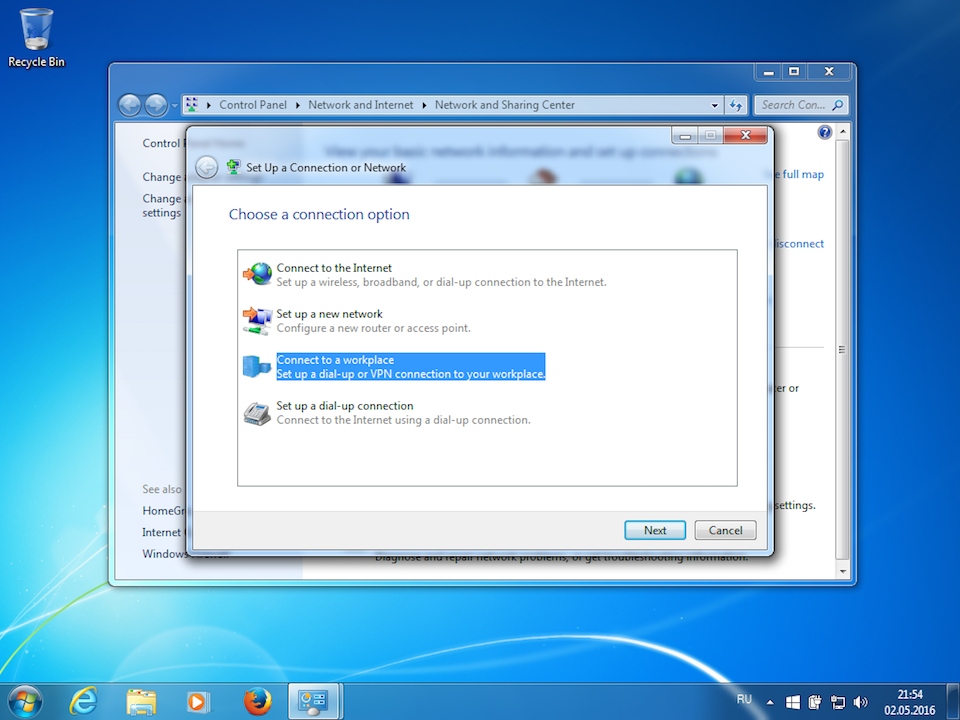 Setting up IKEv2 VPN on Windows 7, step 3