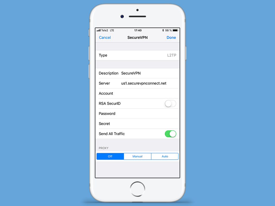 Setting up L2TP VPN on iOS, step 5