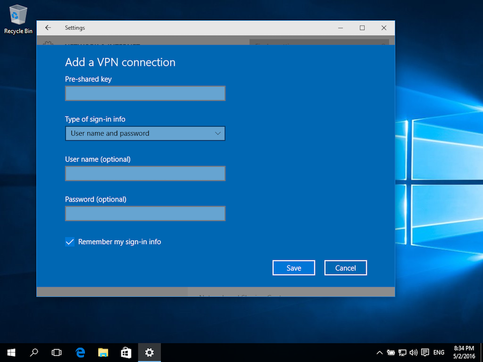 Setting up L2TP VPN on Windows 10, step 4