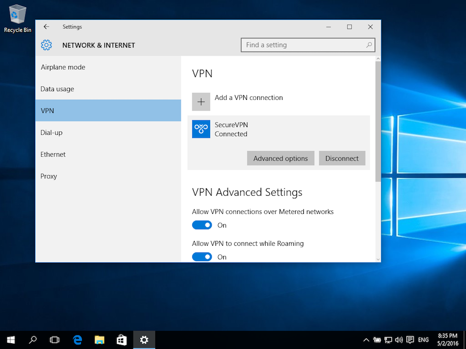 Setting up L2TP VPN on Windows 10, step 6