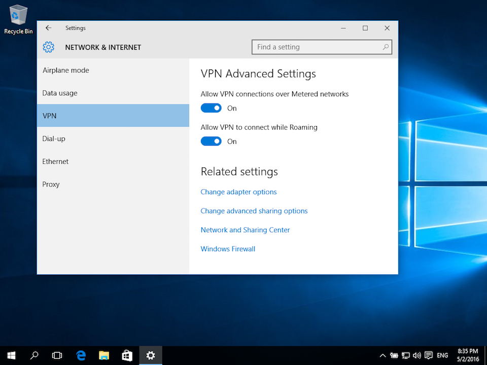 Setting up L2TP VPN on Windows 10, step 7