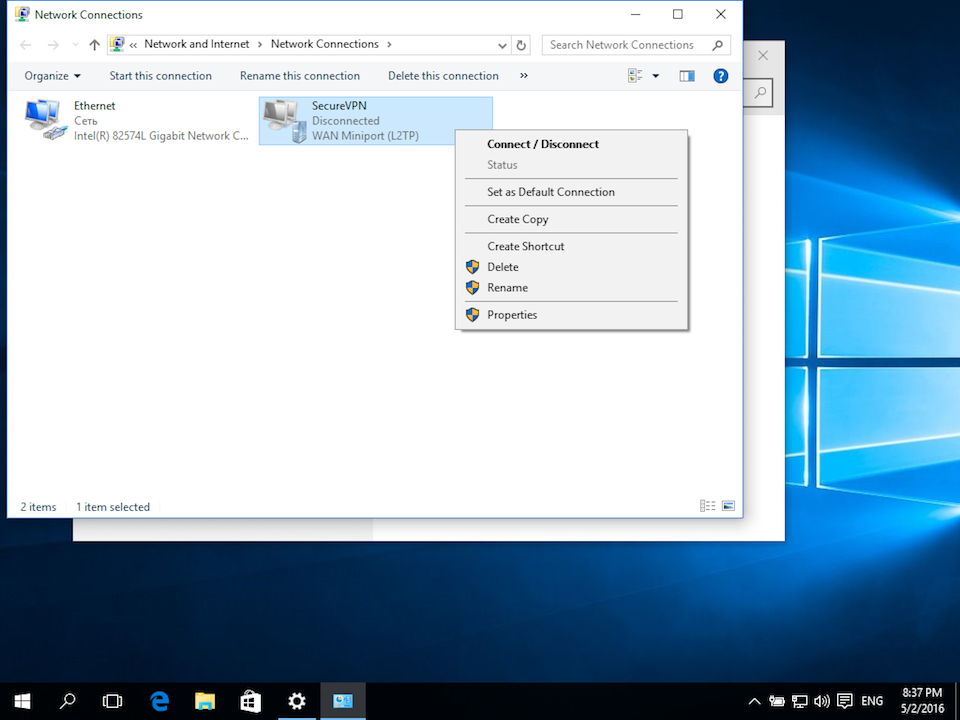 Setting up L2TP VPN on Windows 10, step 8