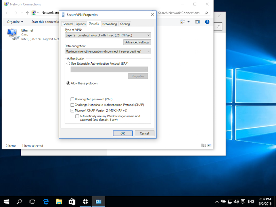 Setting up L2TP VPN on Windows 10, step 9