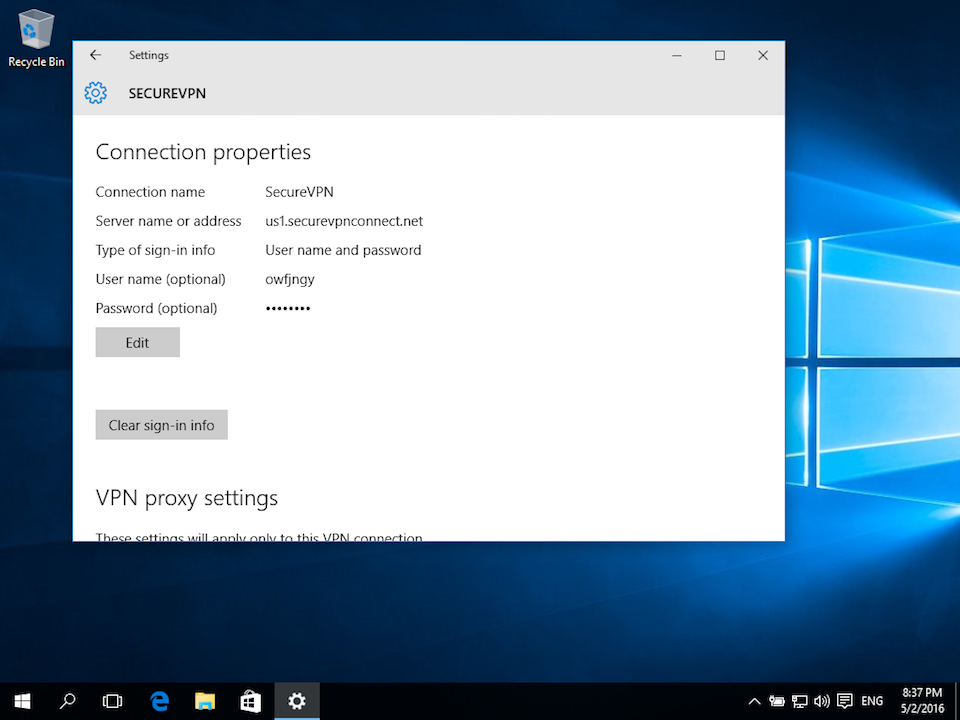 Setting up L2TP VPN on Windows 10, step 12