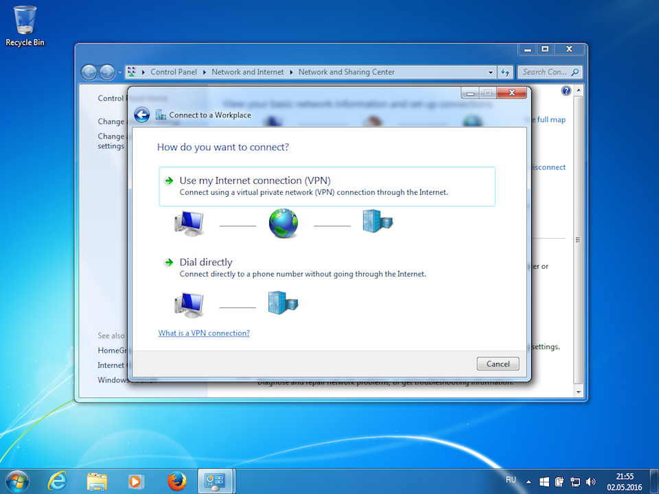 Setting up L2TP VPN on Windows 7, step 4