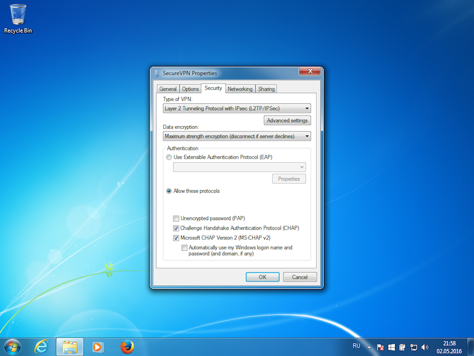 Setting up L2TP VPN on Windows 7, step 9