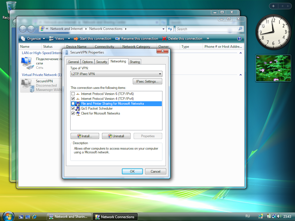 Setting up L2TP VPN on Windows Vista, step 10