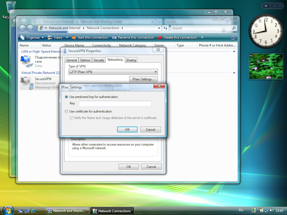 Setting up L2TP VPN on Windows Vista, step 11