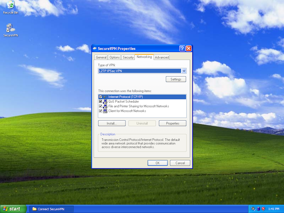 Setting up L2TP VPN on Windows XP, step 10