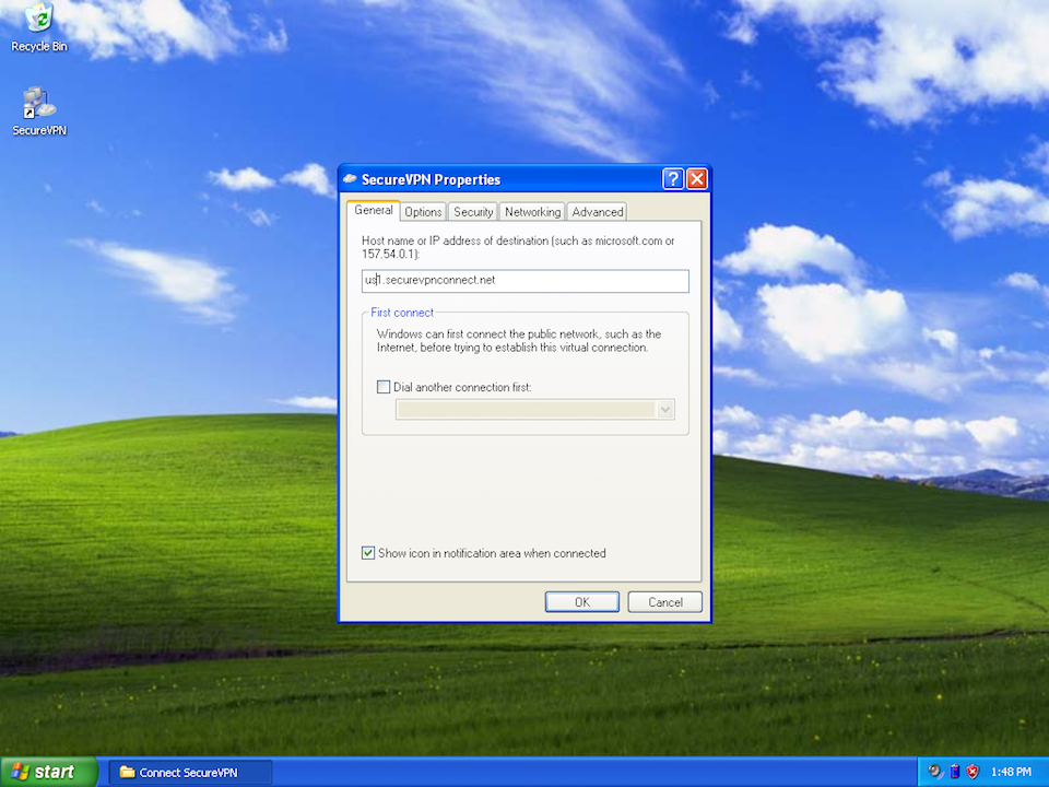 Setting up L2TP VPN on Windows XP, step 15