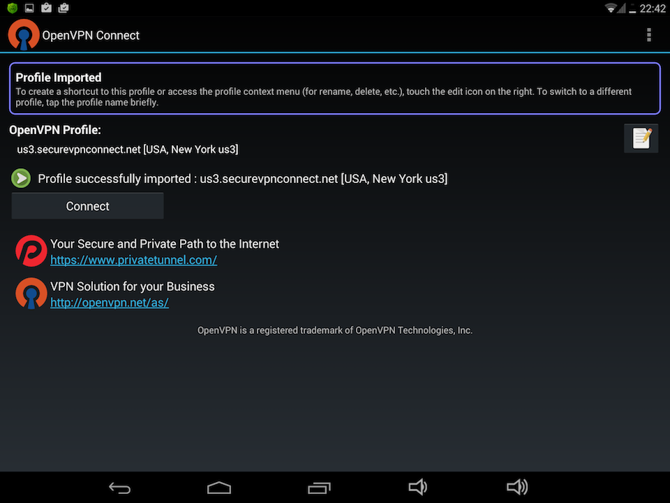 Setting up OpenVPN on Android, step 7