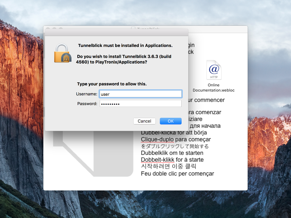 Setting up OpenVPN on Mac OS X, step 4