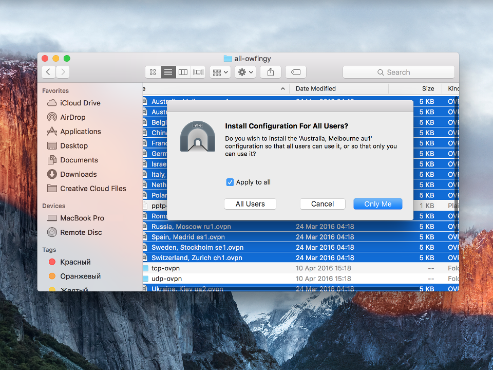 Setting up OpenVPN on Mac OS X, step 6