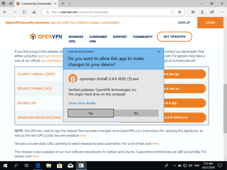 Setting up OpenVPN on Windows 10, step 2