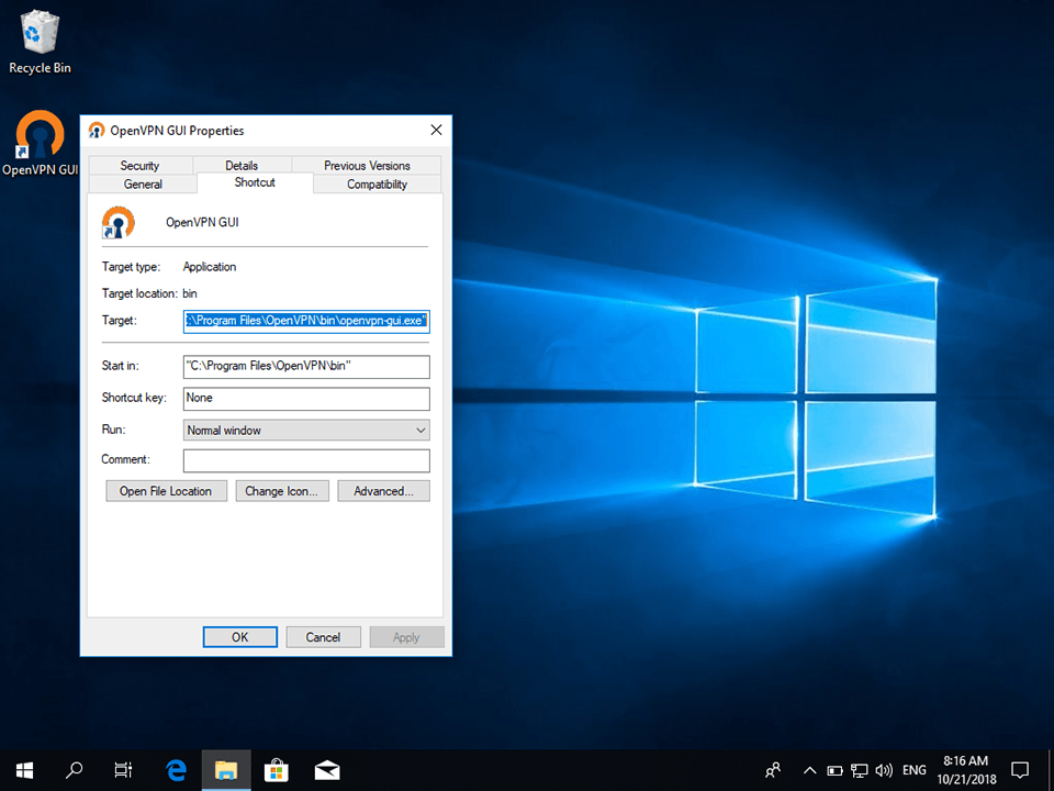 Setting up OpenVPN on Windows 10, step 10