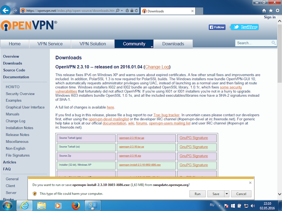 Setting up OpenVPN on Windows 7, step 1