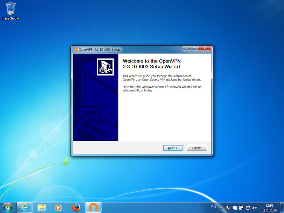Setting up OpenVPN on Windows 7, step 3