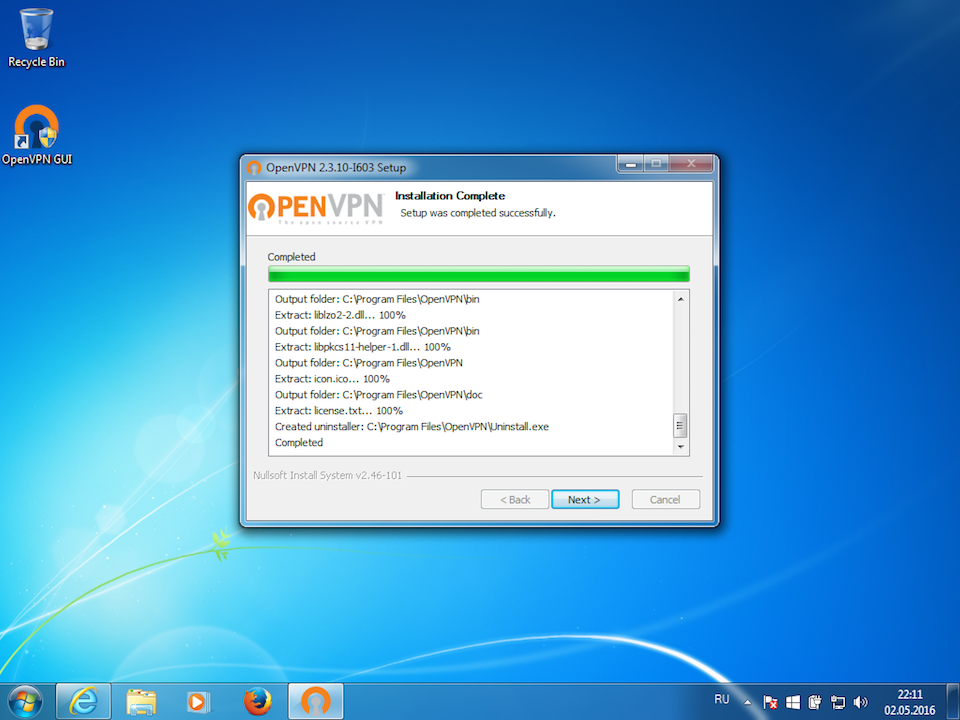 Setting up OpenVPN on Windows 7, step 8