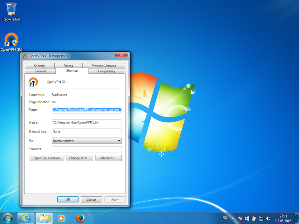 Setting up OpenVPN on Windows 7, step 10