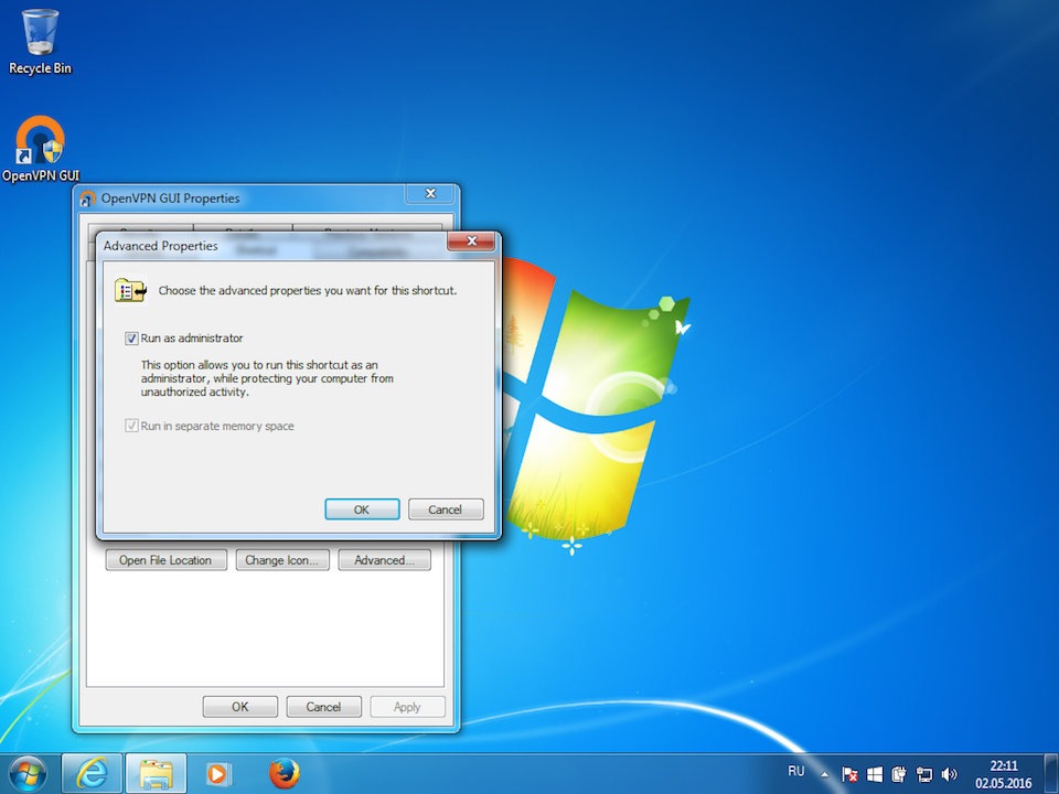 Setting up OpenVPN on Windows 7, step 11