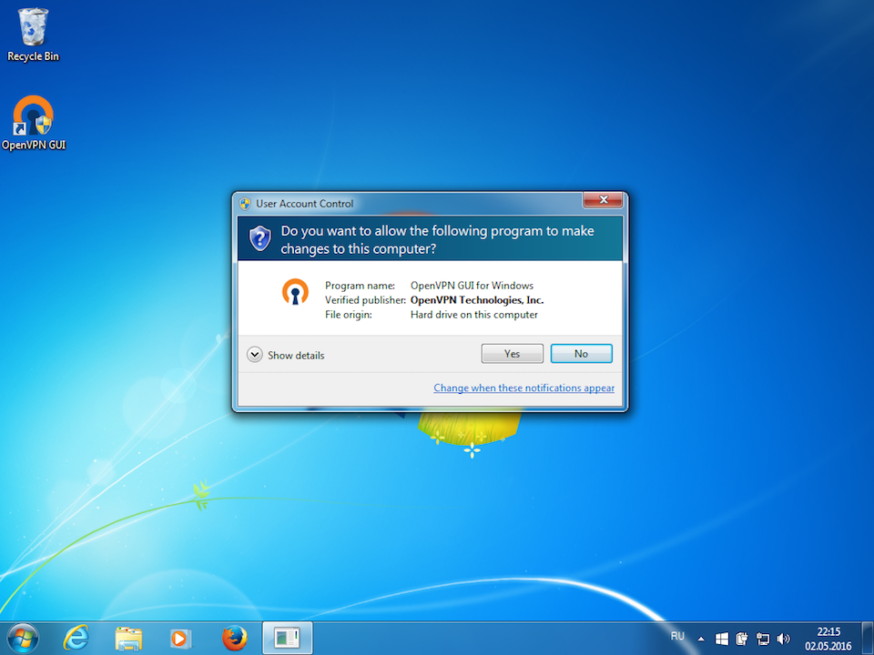 Setting up OpenVPN on Windows 7, step 15