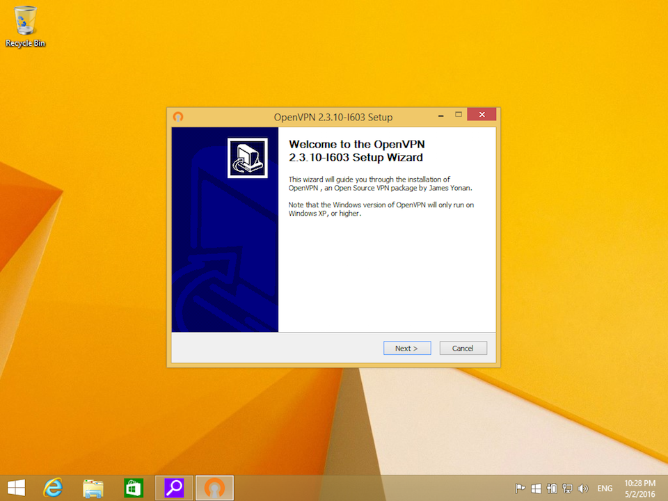 Setting up OpenVPN on Windows 8, step 3