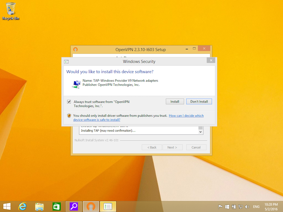 Setting up OpenVPN on Windows 8, step 7