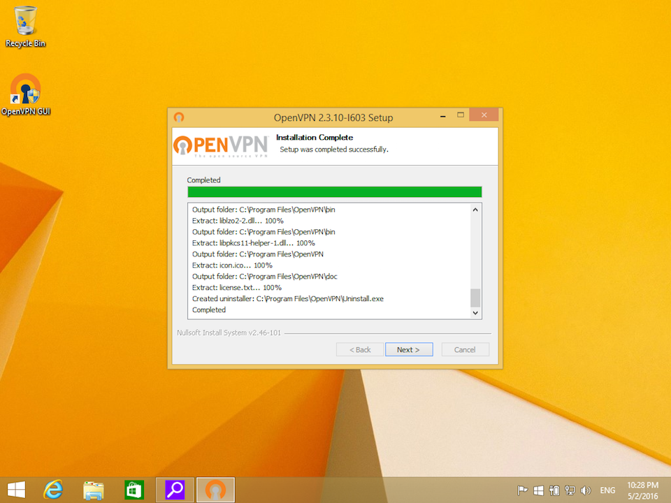 Setting up OpenVPN on Windows 8, step 8
