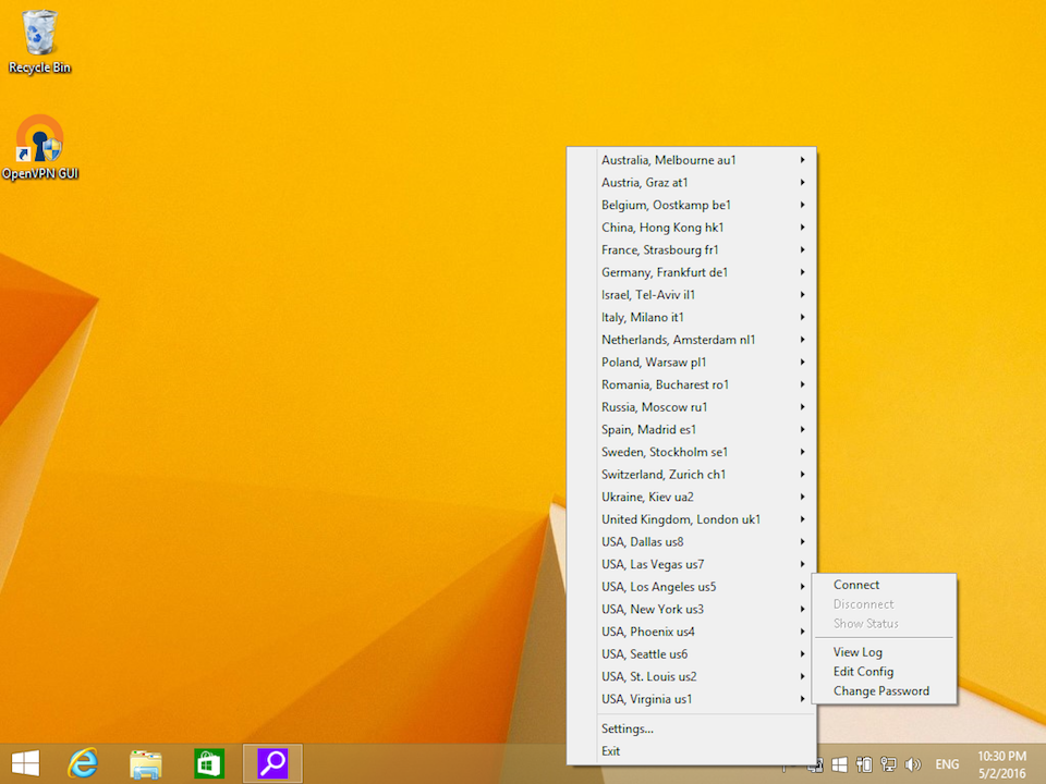 Setting up OpenVPN on Windows 8, step 16