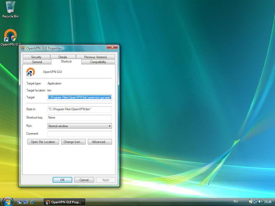Setting up OpenVPN on Windows Vista, step 10