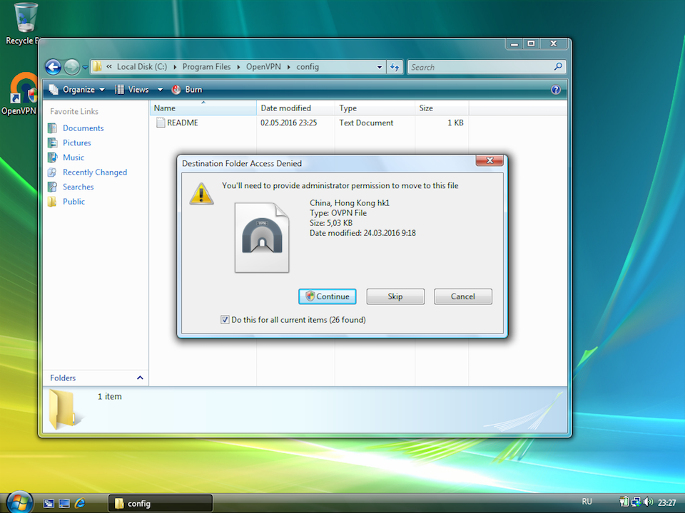 Setting up OpenVPN on Windows Vista, step 14