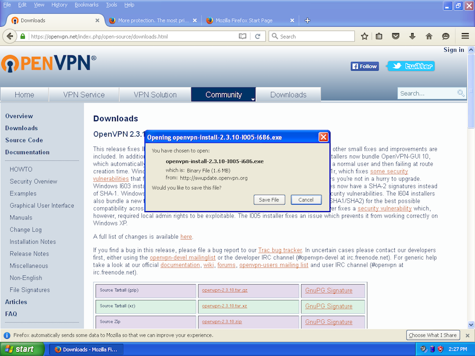 Setting up OpenVPN on Windows XP, step 1