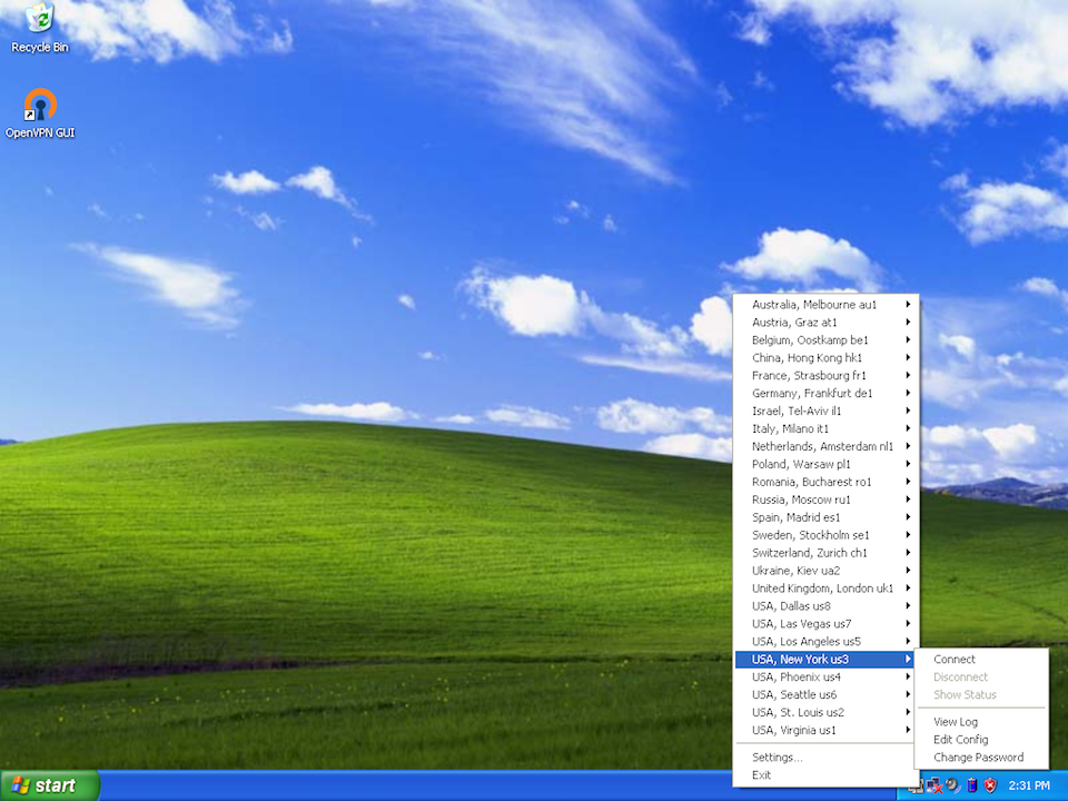 Setting up OpenVPN on Windows XP, step 10
