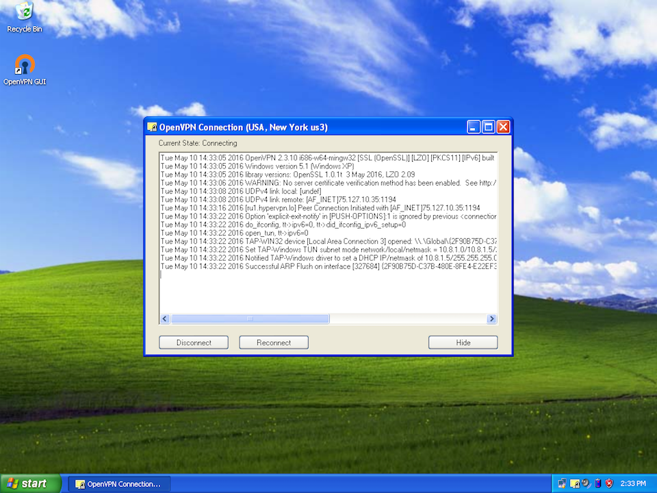 Setting up OpenVPN on Windows XP, step 11