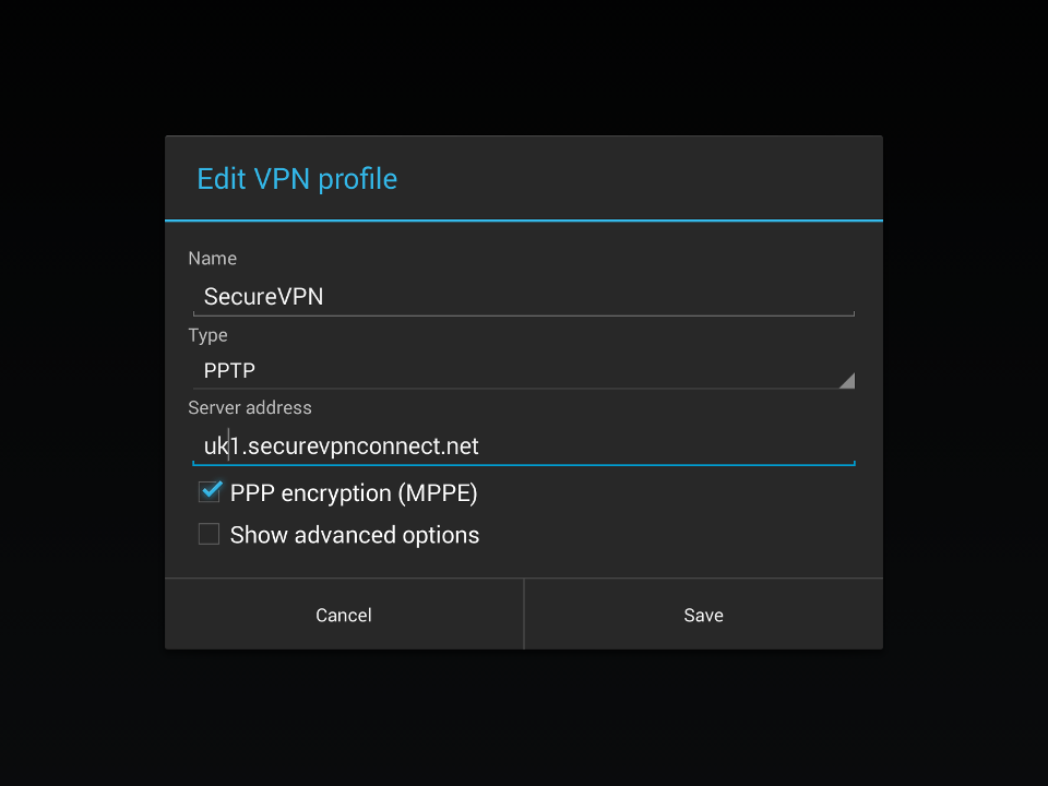 Setting up PPTP VPN on Android, step 9
