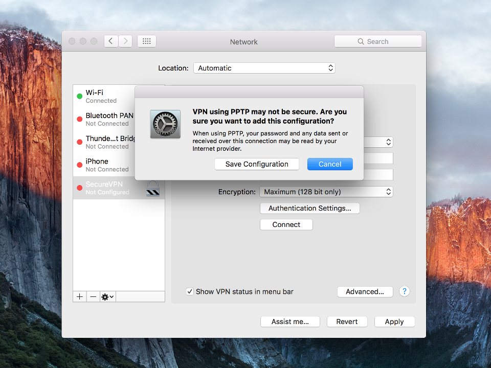 Setting up PPTP VPN on Mac OS X, step 8