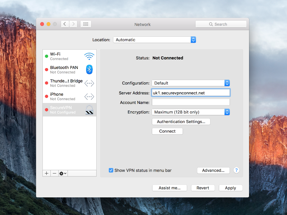 Setting up PPTP VPN on Mac OS X, step 11