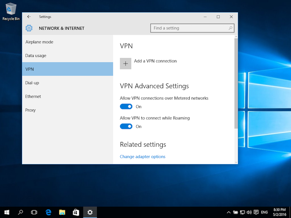 Setting up PPTP VPN on Windows 10, step 2