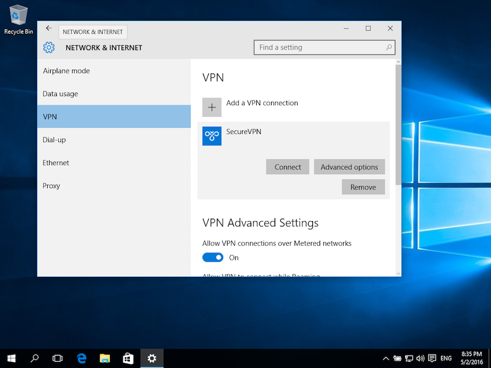 Setting up PPTP VPN on Windows 10, step 5