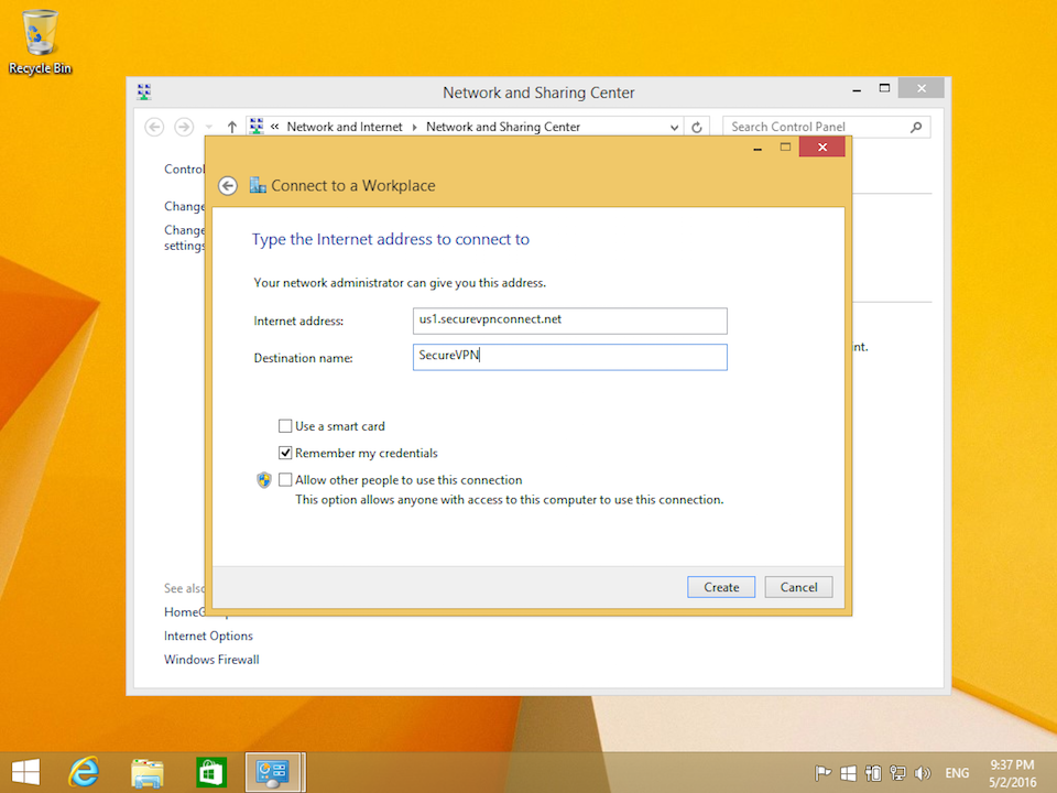 Setting up PPTP VPN on Windows 8, step 6