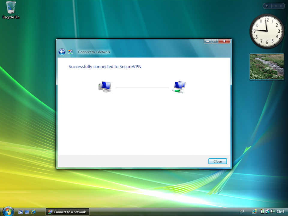 Setting up PPTP VPN on Windows Vista, step 13