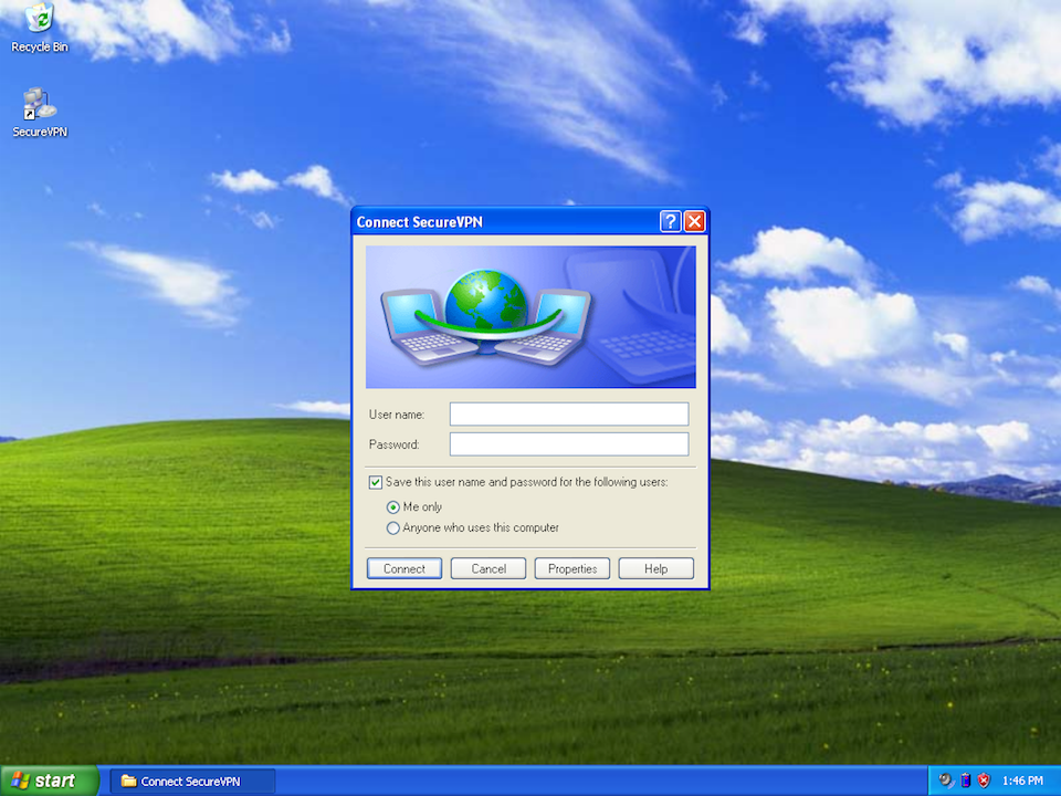 Setting up PPTP VPN on Windows XP, step 9