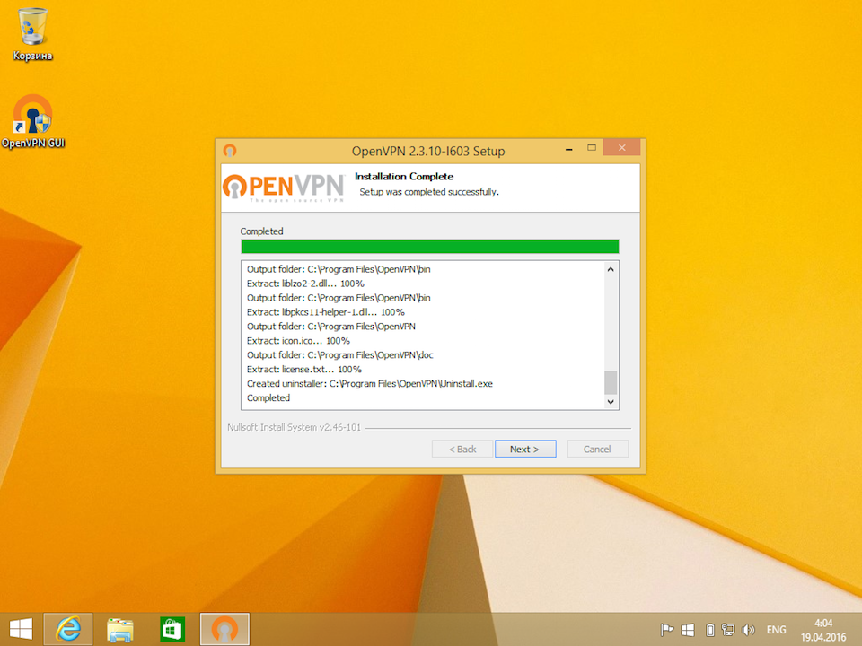 Настройка OpenVPN на Windows 8, шаг 8