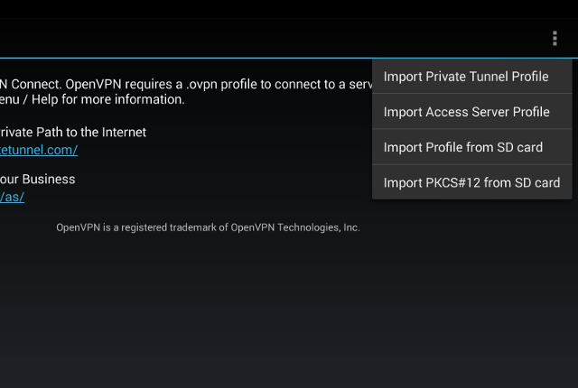 Setting up OpenVPN on Android, step 5