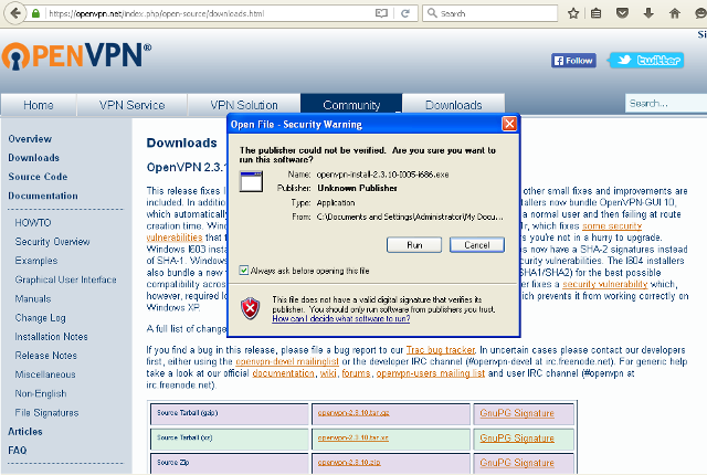 Setting up OpenVPN on Windows XP, step 2