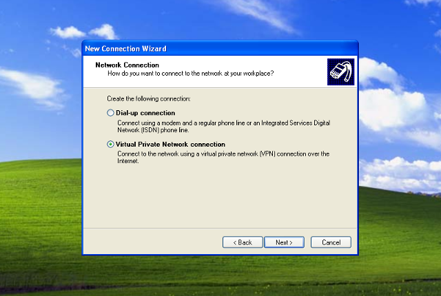 Setting up PPTP VPN on Windows XP, step 5