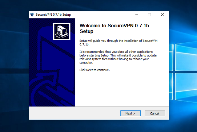 Setting up SecureVPN app for Windows, step 3